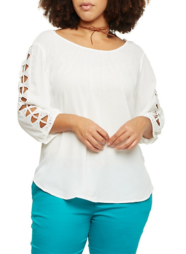 Plus Size 3/4 Sleeve Top with Crochet Insets,IVORY,large