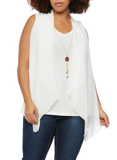 Plus Size Tank Top with Vest Overlay and Necklace,IVORY,large