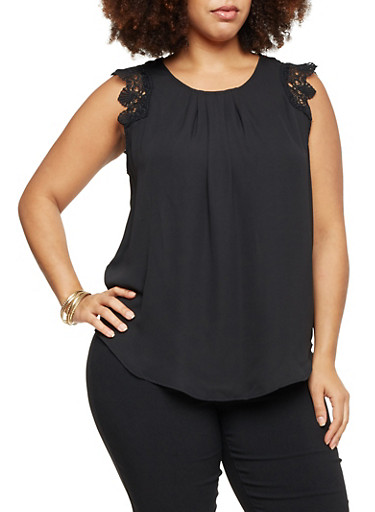Plus Size Sleeveless Top with Crochet Trim,BLACK,large