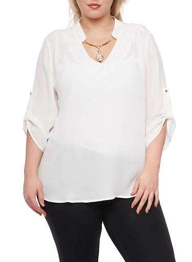 Plus Size Blouse with Removable Necklace,IVORY,large