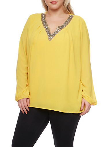 Plus Size Chiffon Top with Jeweled V Neck,MUSTARD,large