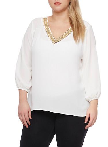 Plus Size Chiffon Top with Jeweled V Neck,WHITE,large