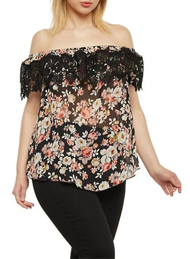 Plus Size Off the Shoulder Floral Top with Lace Trim,MAUVE,large