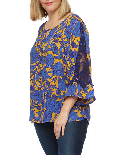 Plus Size Top in Floral Print with Crochet Paneling,MUSTARD/ROYAL,large