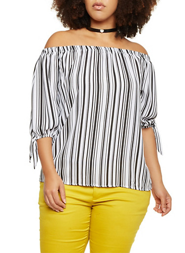 Plus Size Off The Shoulder Top in Striped Chiffon,BLACK,large