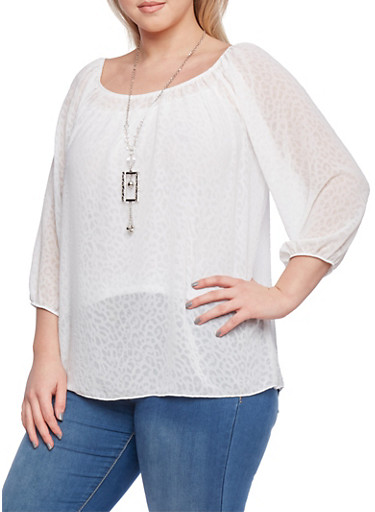 Plus Size Peasant Top with Necklace,IVORY  SILVER,large