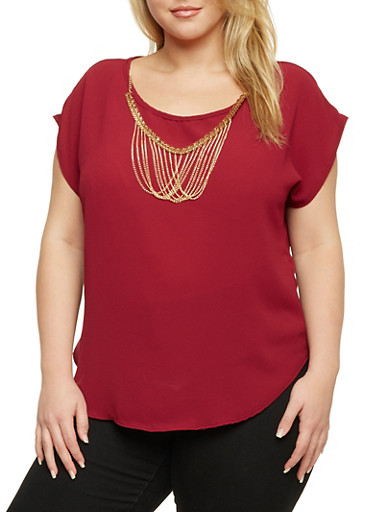 Plus Size Top with Chain Necklace,RUBY,large