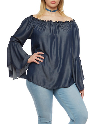 Plus Size Off the Shoulder Top in Chambray,NAVY,large