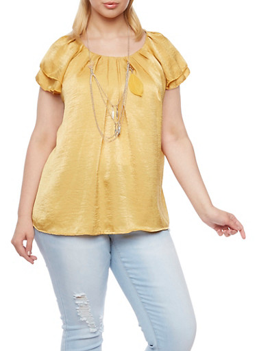Plus Size Pleated Top with Removable Necklace,MUSTARD,large