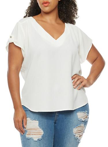 Plus Size Short Sleeve V Neck Top,IVORY,large
