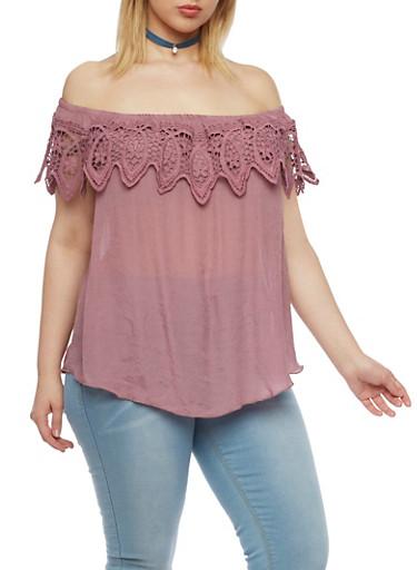 Plus Size Off the Shoulder Top with Crochet Trim,MAUVE,large