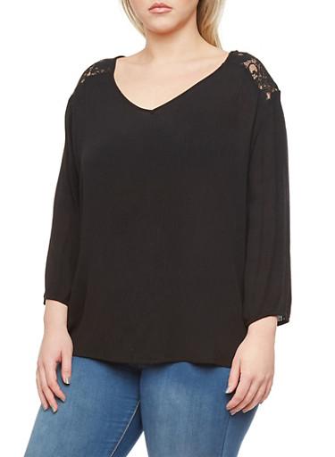 Plus Size Lace-Detail Top,BLACK,large