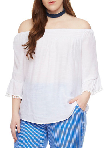 Plus Size Smock Neck Peasant Top with Pom Pom Trim Sleeves,WHITE,large