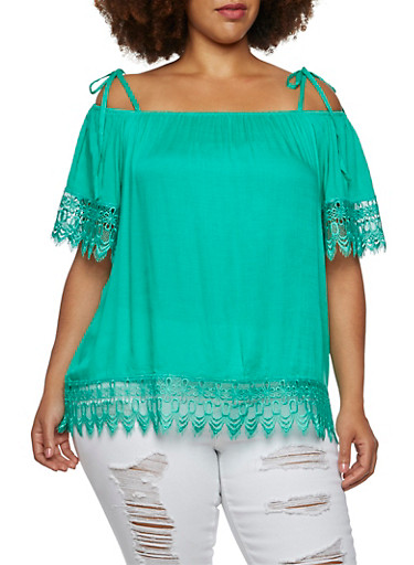 Plus Size Off The Shoulder Top with Fringe Lace,GREEN,large