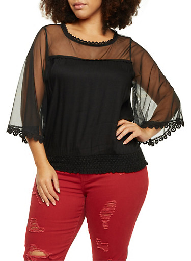 Plus Size Bell Sleeve Sheer Top,BLACK,large