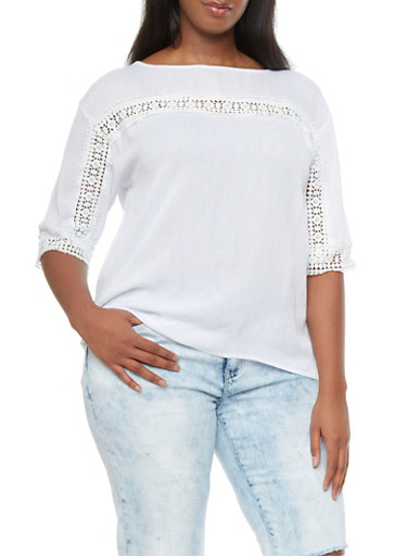 Plus Size Gauze Top With Sheer Crochet Trim,WHITE,large