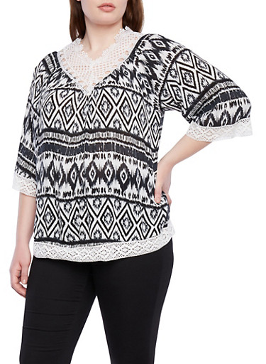 Plus Size Aztec Print Top with Crochet Trim,BLACK,large