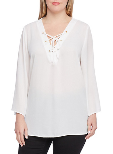 Plus Size Sheer Top with Lace Up Neckline,IVORY,large
