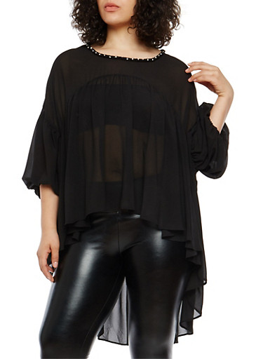Plus Size High Low Top with Jeweled Neck Detail,BLACK,large