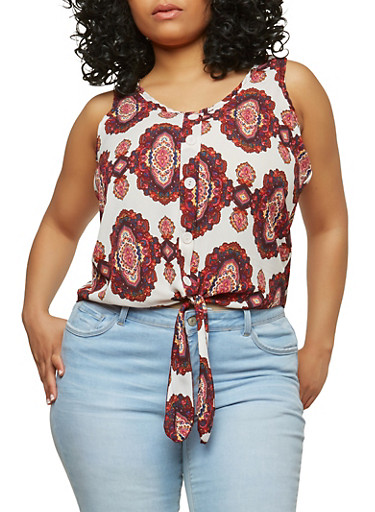 Plus Size Printed Tie Front Top,IVORY,large