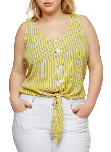 Plus Size Striped Tie Front Top,YELLOW,large