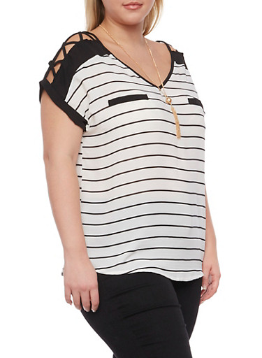 Plus Size Striped Top with Lattice Paneling and Necklace,BLACK,large