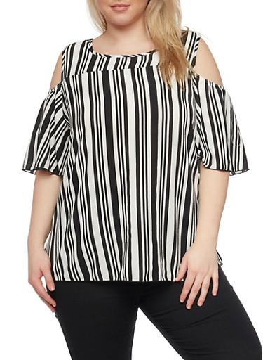 Plus Size Striped Cold Shoulder with Keyhole Back,BLACK,large