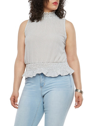 Plus Size Smock Ruffle Polka Dot Top,IVORY,large