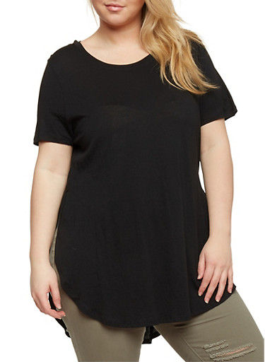Plus Size Short Sleeve Tunic Top with Open Sides,BLACK,large