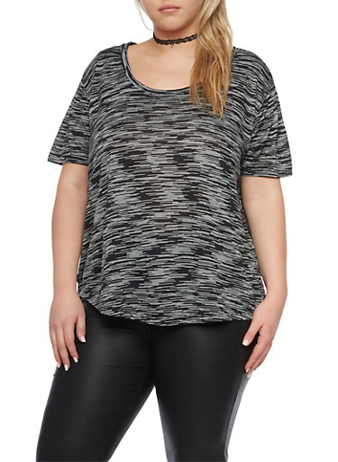 Plus Size Space Dye Top with High Low Hem,BLACK,large