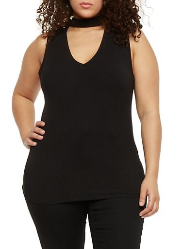 Plus Size Sleeveless Rib Knit Choker Tank Top,BLACK,large