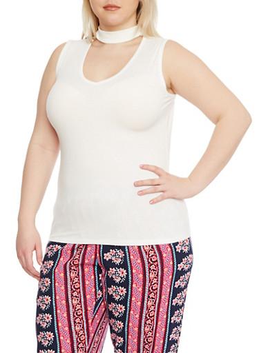 Plus Size Sleeveless Rib Knit Choker Tank Top,OFF WHITE,large