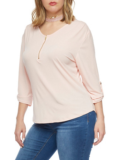 Plus Size Half Zip Top with Tab Sleeve,ROSE,large