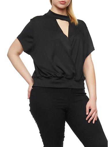 Plus Size Short Sleeve Faux Wrap Top,BLACK,large