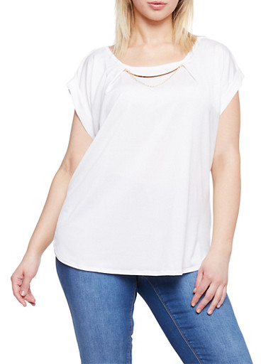 Plus Size Short Sleeve Top with Collar Chain Accent,IVORY,large