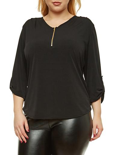 Plus Size Half Zip Tabbed Sleeve Blouse,BLACK,large