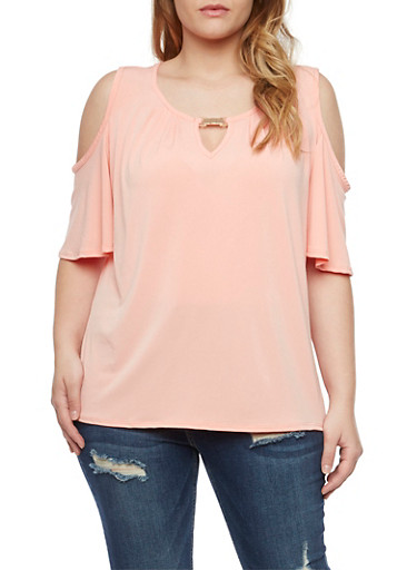 Plus Size Cold Shoulder Top with Cutout,CORAL,large