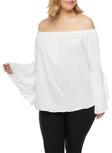 Plus Size Off the Shoulder Top with Bell Sleeves,IVORY,large