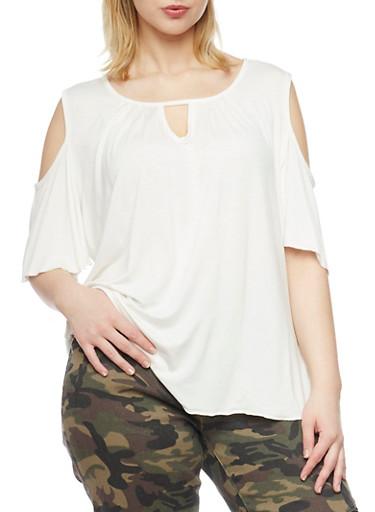 Plus Size Cold Shoulder Top with Keyhole Neckline,IVORY,large