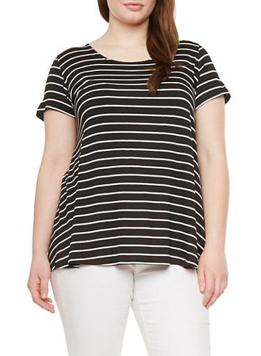 Plus Size Striped Swing Top,BLACK,large