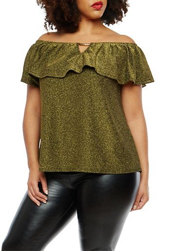 Plus Size Glitter Knit Off the Shoulder Top,GOLD,large