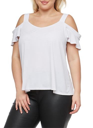 Plus Size Cold Shoulder Blouse,WHITE,large