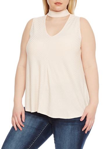 Plus Size Sleeveless Rib Knit Choker Top,BLUSH,large