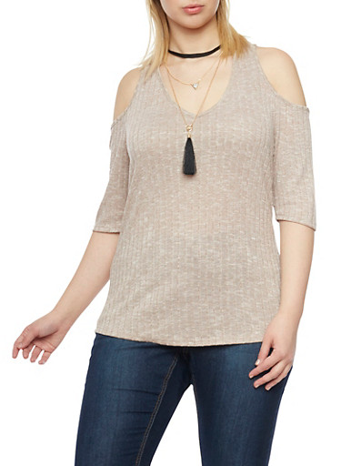 Plus Size Cold Shoulder Top with Choker Pendant Necklace,TAUPE,large
