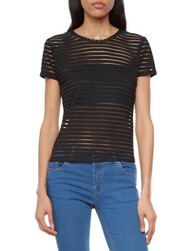 Mesh Stripe Top,BLACK,large