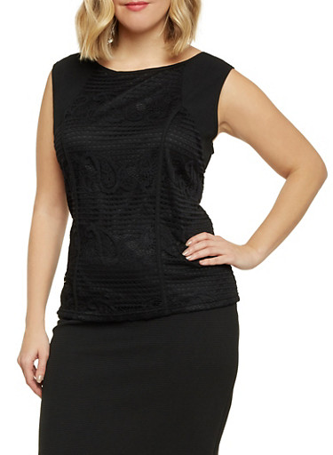 Plus Size Sleeveless Top with Lace Front,BLACK,large