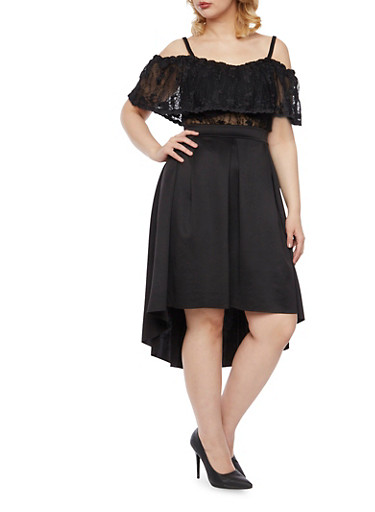 Plus Size Off The Shoulder Top in Sheer Lace,BLACK,large