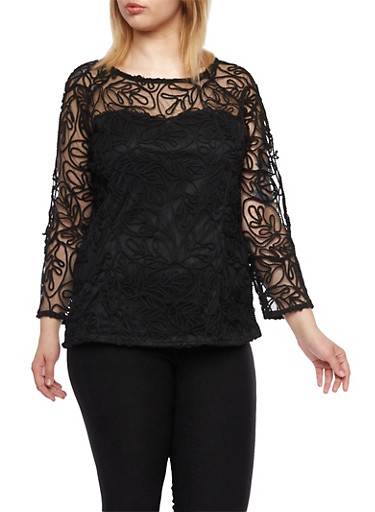 Plus Size Sheer Knit Swirl Top with Lined Bodice,BLACK,large