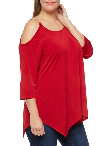 Plus Size Cold Shoulder Top with Chain Straps,RED,large