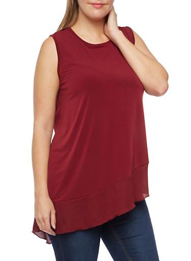 Plus Size Sleeveless Top with Asymmetrical Chiffon Hem,WINE,large